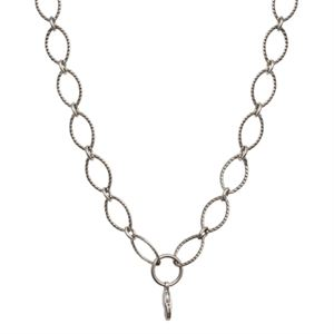 """Picture of Silver Textured Oval Link Chain - 32"""""""